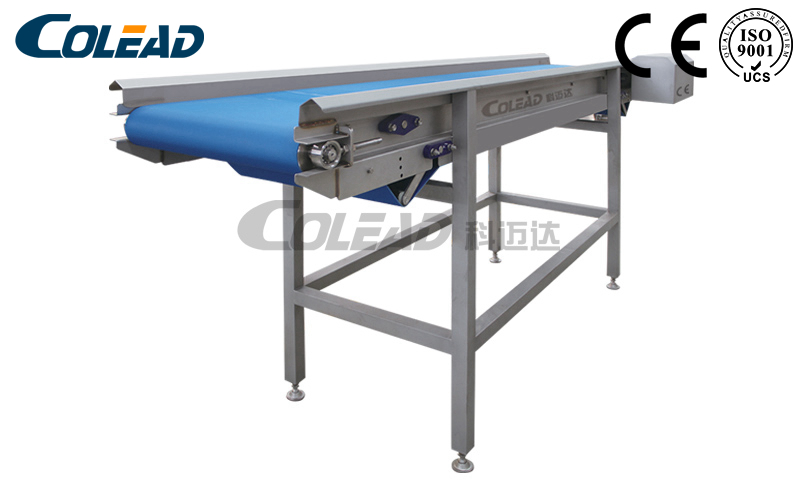 Horizontal type vegetable and fruit conveyor