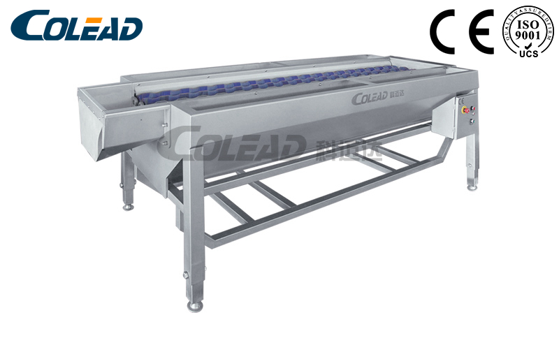 Spiral type potato selecting conveyor